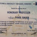 Timisoara confers Honorary Professorship to Professor Pavol Bauer