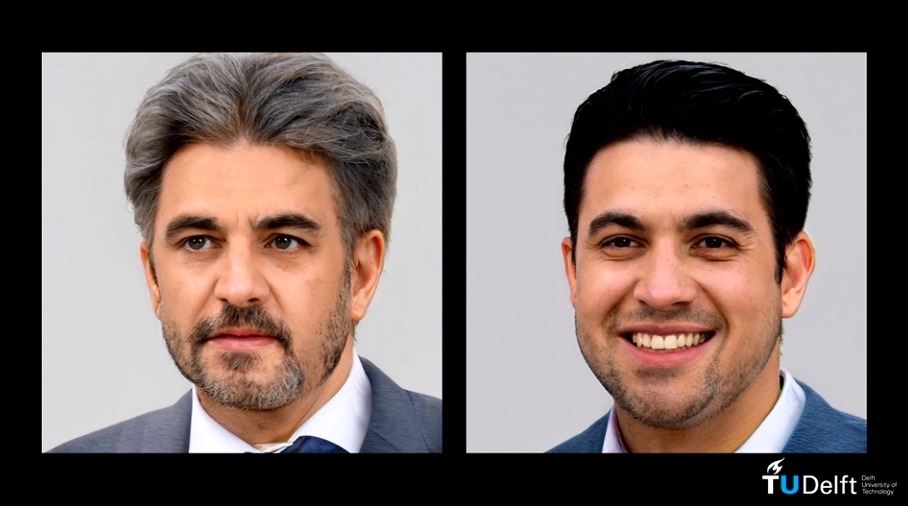 Two AI generated human faces next to one another.