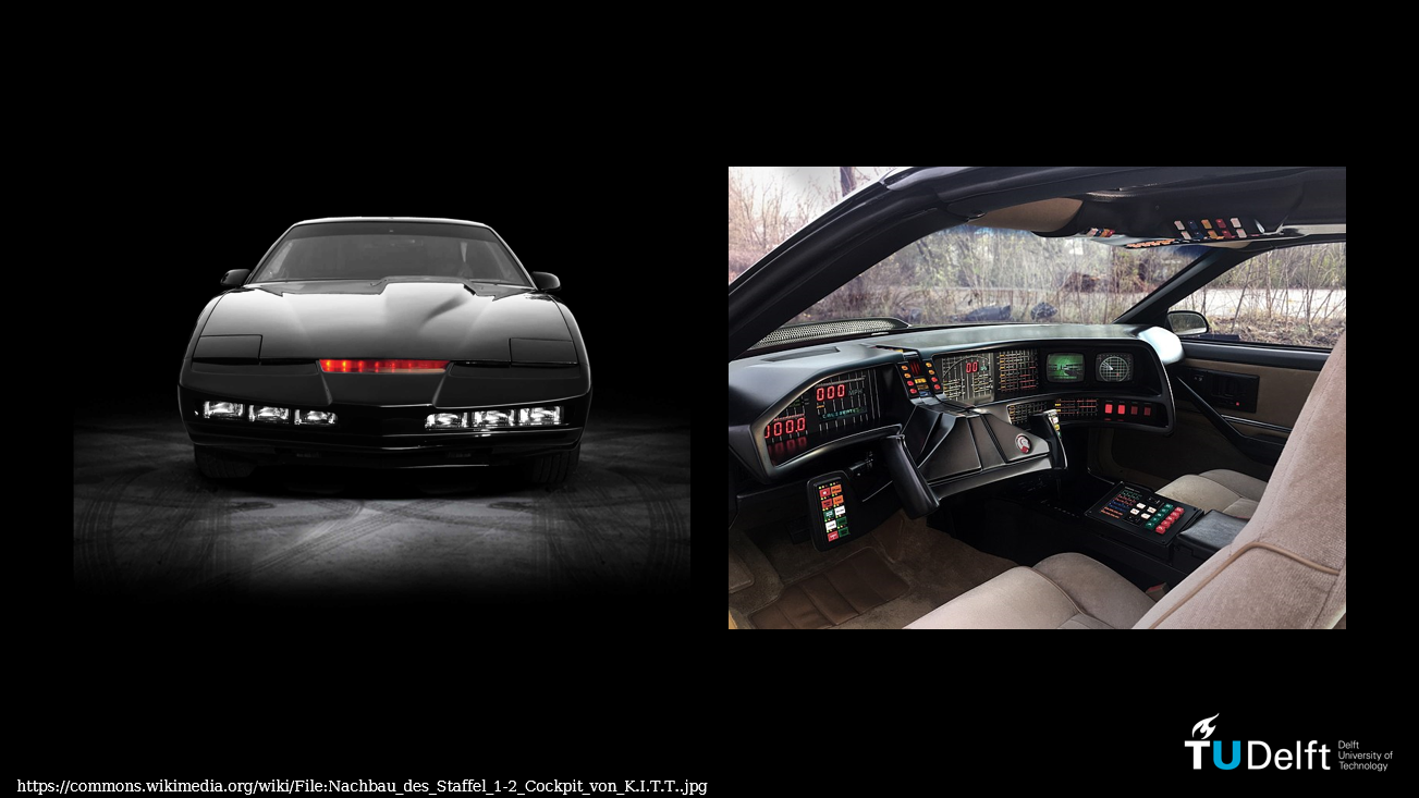 KITT, the AI powered car from the 1980's TV series 'Knight Rider'